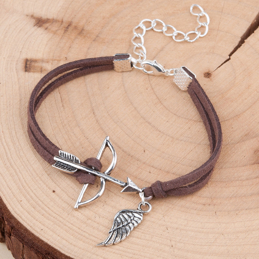 Archery Bow & Arrow Angel Wing Charm Suede Bracelet