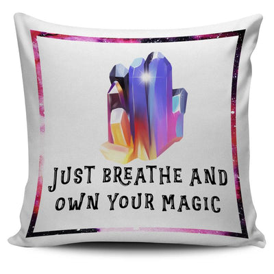 "Aura Quartz Crystal Cluster ""Just Breathe and Own Your Magic"" Throw Pillow Cushion Cover"