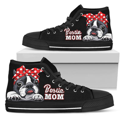 Bostie Mom High-Top Canvas Shoes for Women (Boston Terrier). Click this image for more details!