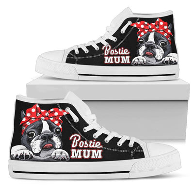 Bostie Mum High-Top Canvas Shoes for Women (Boston Terrier). Click this image for more details!