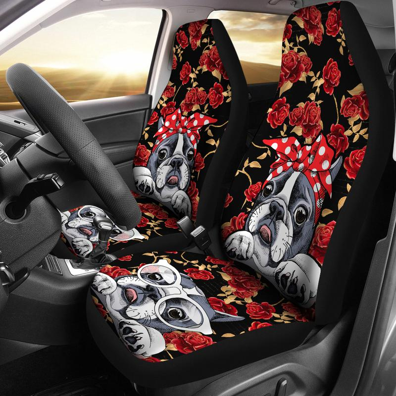 Boston Terrier Retro Pin Up Style Car Seat Covers Set Of Two