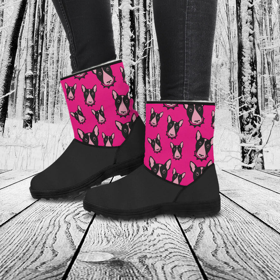 Bull Terrier Lovers Eco-Friendly & Vegan-Friendly Faux Fur Boots for Women (Cruelty Free!)