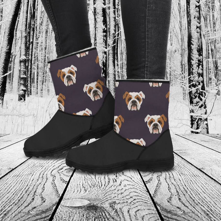 Bulldog Lovers Eco-Friendly & Vegan-Friendly Faux Fur Boots for Women (Cruelty Free!)