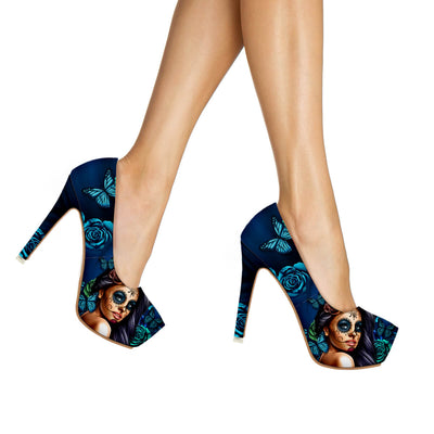 Calavera Girl 'Day of the Dead' High Heels in Turquoise