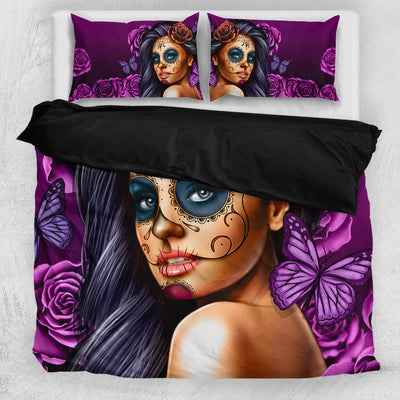 'Day of the Dead' Calavera Girl Bedding Set in Violet/Purple