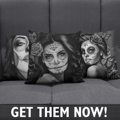 Calavera Girl Throw Pillow Cushion Covers
