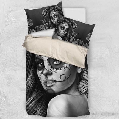 'Day of the Dead' Calavera Girl Bedding Set in Black and White
