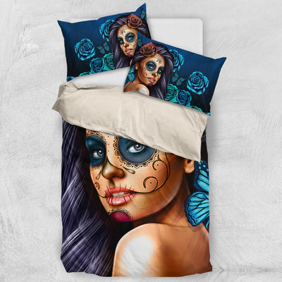 'Day of the Dead' Calavera Girl Bedding Set in Turquoise/Blue