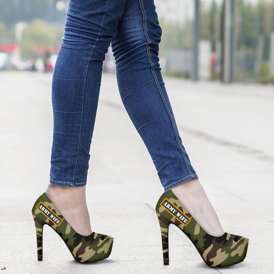 Green Army Camouflage Military Wife High Heels