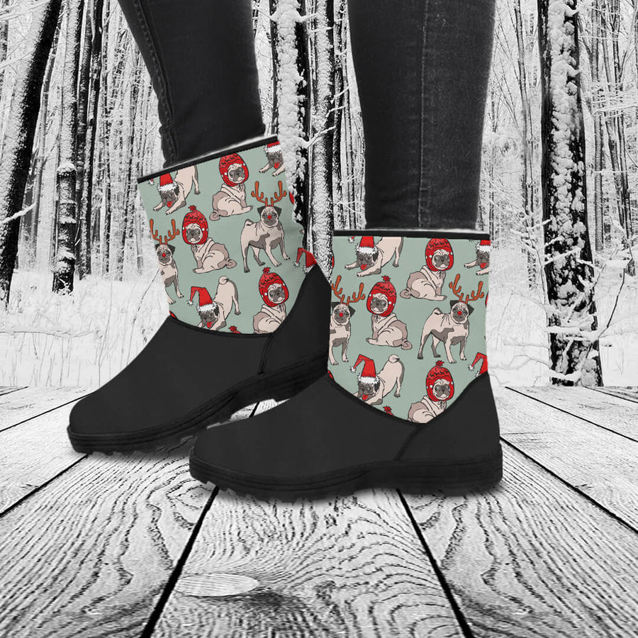 Christmas Pug Eco-Friendly & Vegan-Friendly Faux Fur Boots for Women (Cruelty Free!)