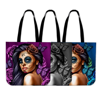 'Day of the Dead' Calavera Girl Tote Bags