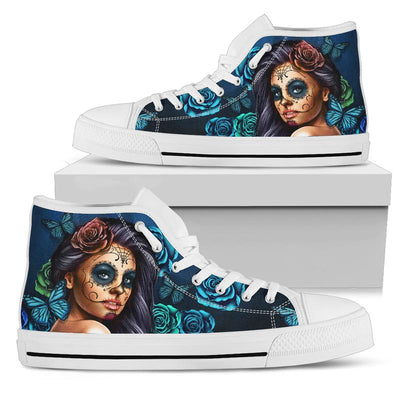 'Day of the Dead' Calavera Sugar Skull Girl High-Top Canvas Shoes