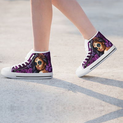 'Day of the Dead' Calavera Sugar Skull Girl High-Top Canvas Shoes for Women
