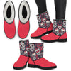 'Day of the Dead' Sugar Skull Faux Fur Boots for Women (Eco-Friendly & Cruelty Free!)