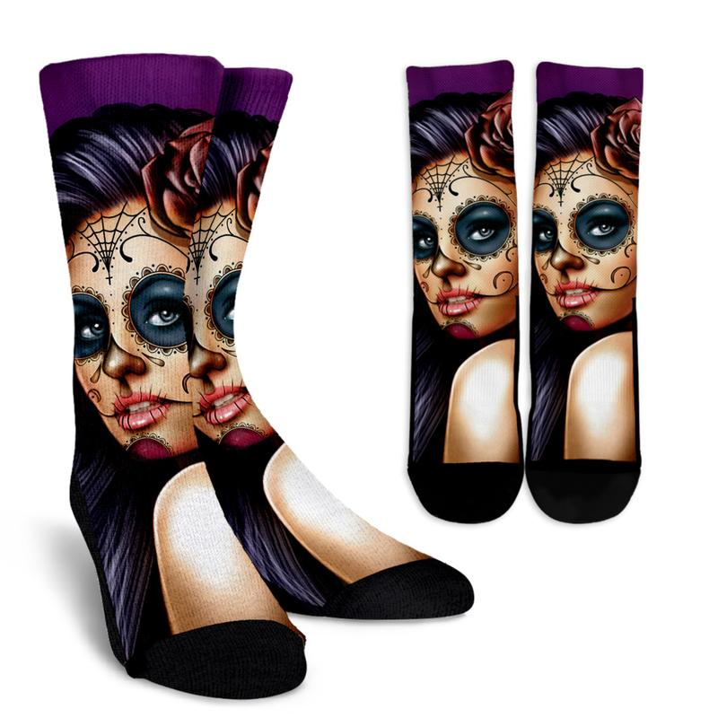 Day of the Dead Socks -- Calavera Girl