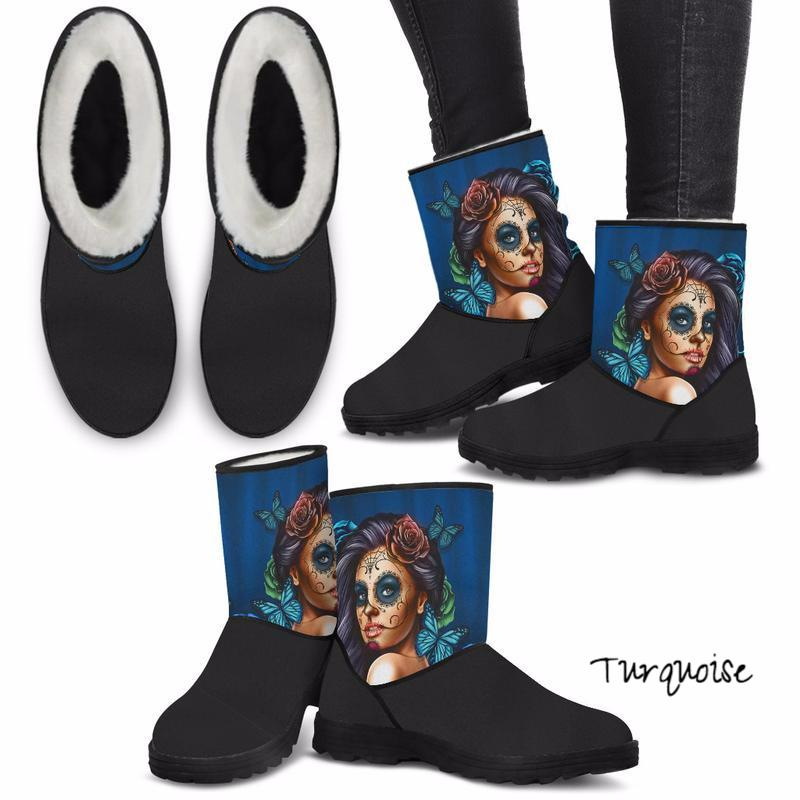 'Day of the Dead' Sugar Skull Calavera Girl Eco-Friendly & Vegan-Friendly Faux Fur Boots for Women (Cruelty Free!)