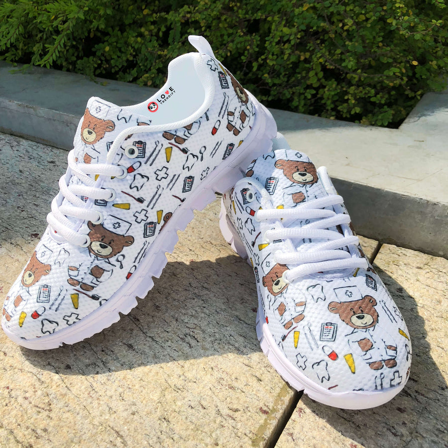 Dental Themed Sneakers for Women - White