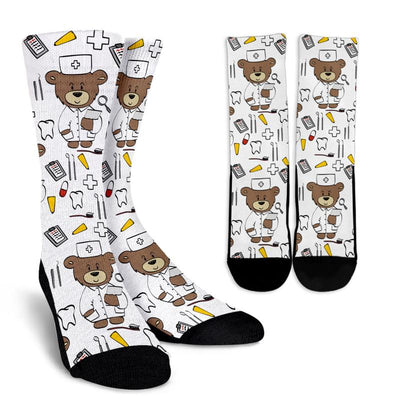 Dentist Bear Performance Crew Socks (Dynamic Arch Compression) - Unisex