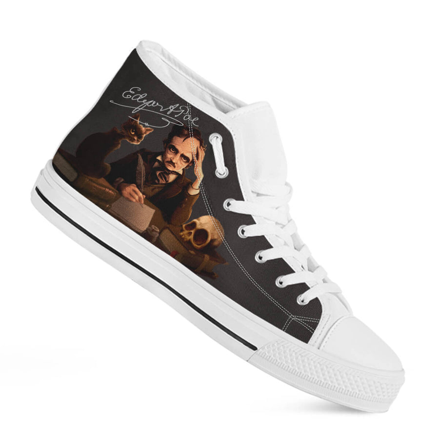 Edgar Allan Poe High-Top Canvas Shoes for Men