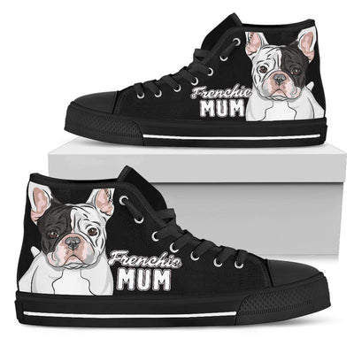 Frenchie Mum High-Top Canvas Shoes for Women (French Bulldog). Click this image for more details!