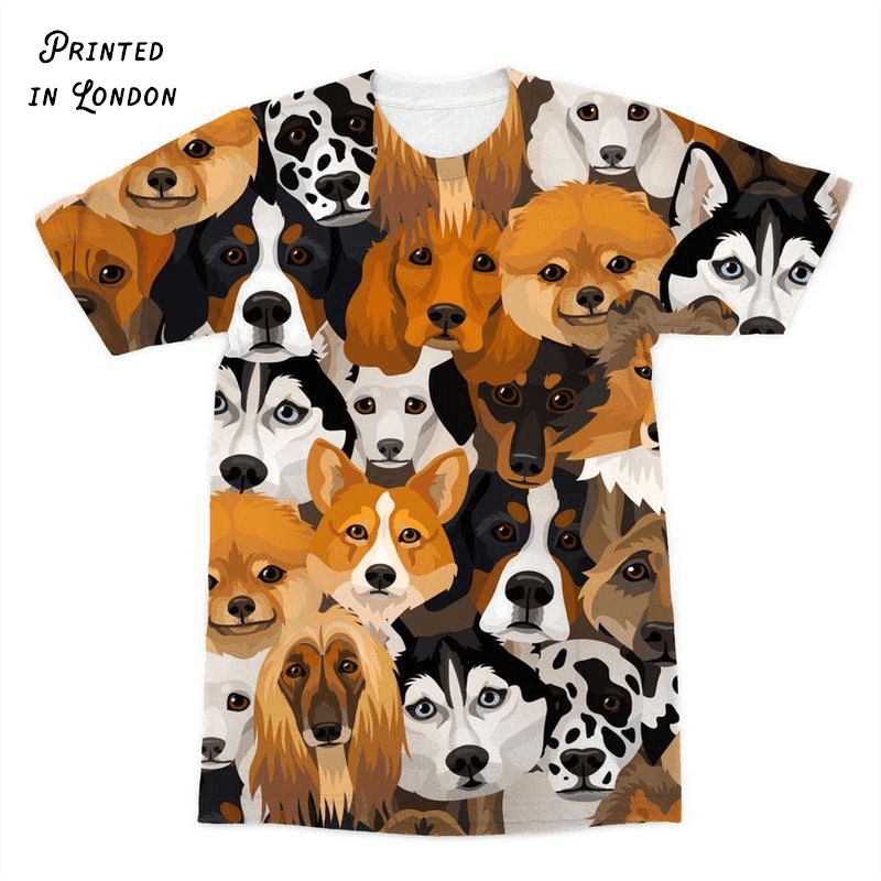 Dogs All Over Sublimation Print Tee Shirt for Dog Lovers. Click this image for more details!