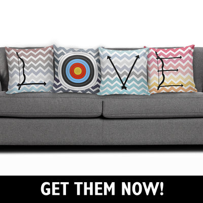 Archery LOVE Pillows (Set of 4) in pastel colors