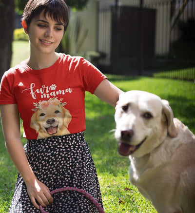 Golden Retriever Fur Mama T-Shirt for Women. Image of lady in red with her Labrador to show example of shirt worn. Click this image for more details!