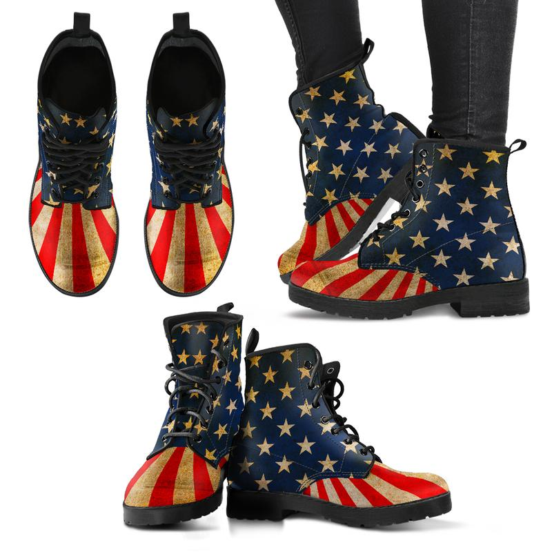 Patriotic Rustic American Flag Eco-Leather Boots for Women