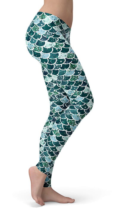 Green Mermaid Leggings - Mermaid Workout Leggings