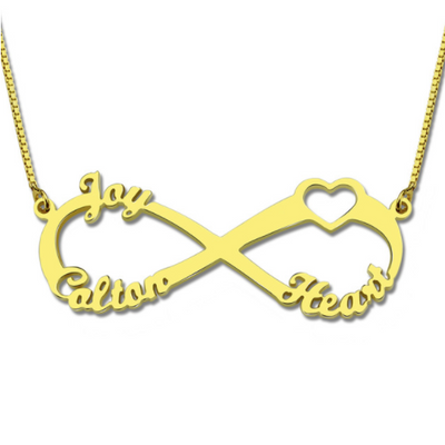 Infinity 3-Name Necklace | Personalized Name Necklace | 925 Sterling Silver Gold