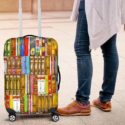 'I Love Literary Books' Bookshelf Luggage Cover for Book Lovers and Bibliophiles. 3 sizes available. Click this image for more details!