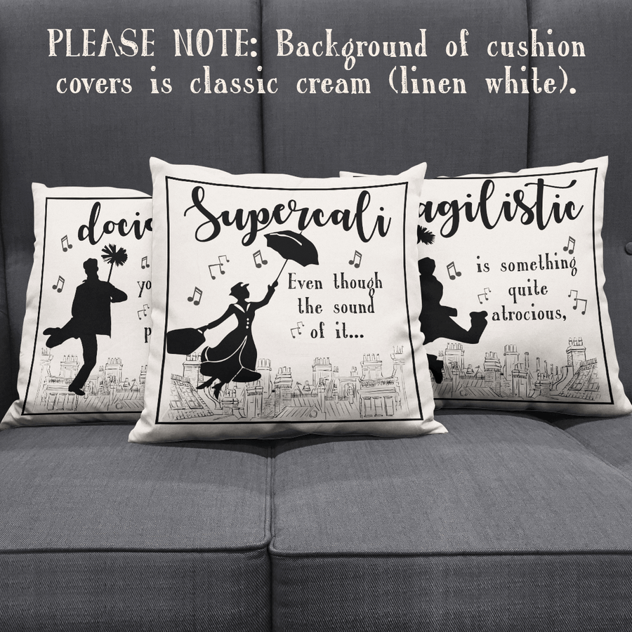 "Mary Poppins ""Supercalifragilisticexpialidocious!"" Throw Pillow Cushion Covers 