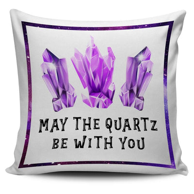 "Amethyst ""May The Quartz Be With You"" Throw Pillow Cushion Cover"