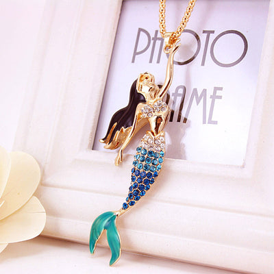 Mermaid Crystal Gold Necklace in Turquoise Teal Blue