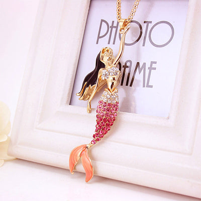 Mermaid Crystal Gold Necklace in Rose Pink Amber