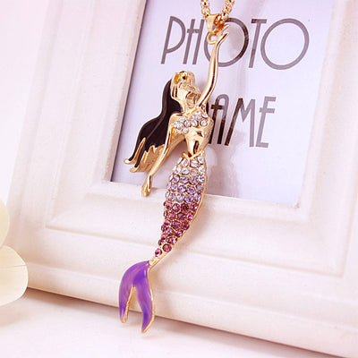 Mermaid Crystal Gold Necklace in Lavender Purple
