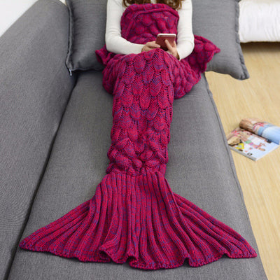 Mermaid Tail Hand-Knitted Blanket in Deep Wine Red