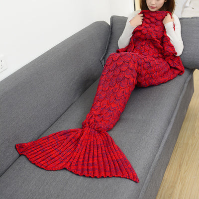 Mermaid Tail Hand-Knitted Blanket in Cardinal Red