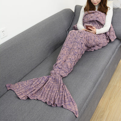 Mermaid Tail Hand-Knitted Blanket in Lotus Color