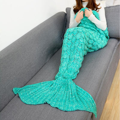 Mermaid Tail Hand-Knitted Blanket in Sea Green