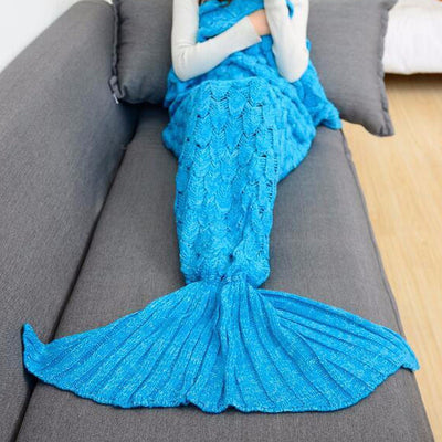Mermaid Tail Hand-Knitted Blanket in Sky Blue