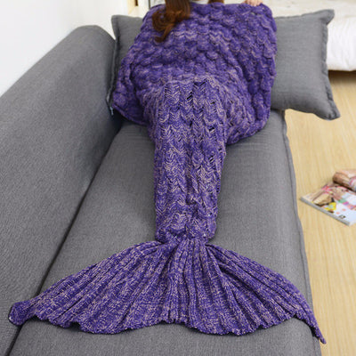 Mermaid Tail Hand-Knitted Blanket in Violet Purple