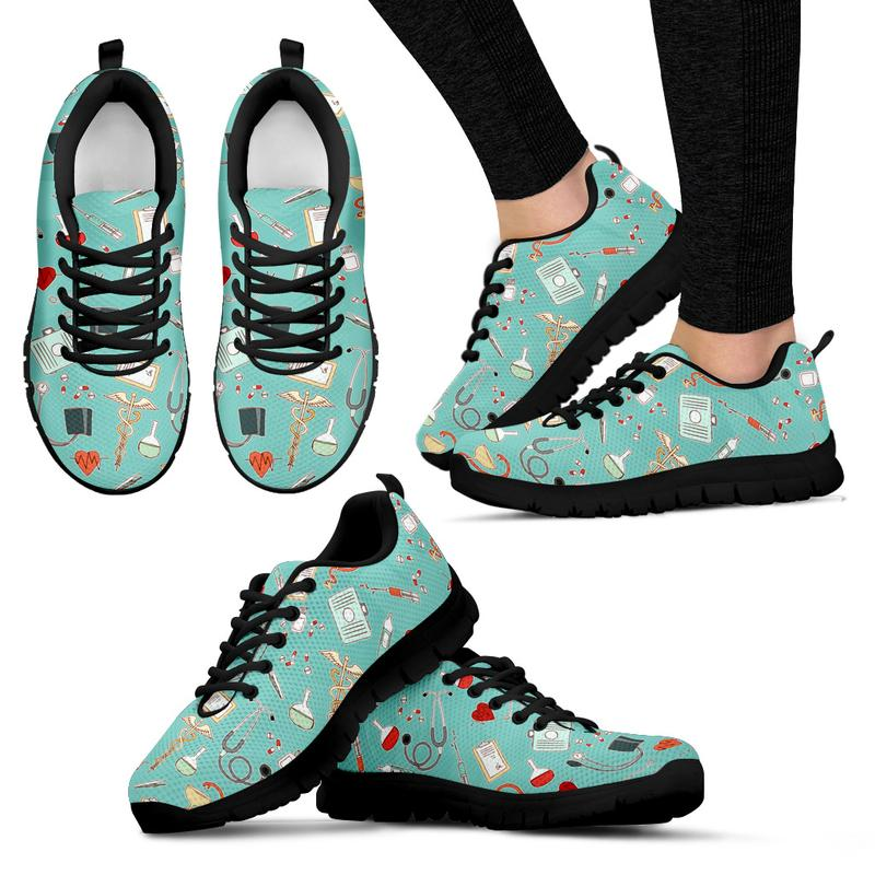 Nurse Sneakers with Caduceus for Women - Turquoise