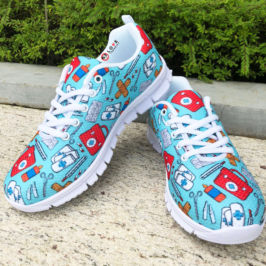 Nursing Sneakers (First Aid Design) for Women - Turquoise