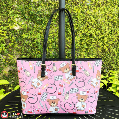 Nurses Eco-Leather Utility Tote Bag (Large/Pink). Click this image for more details!