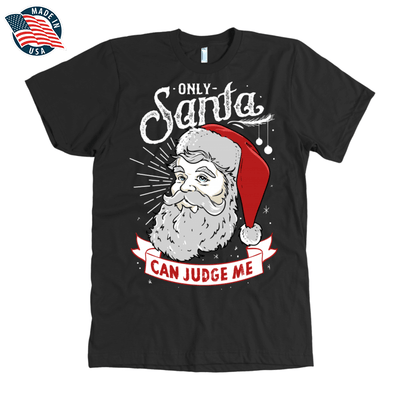 """Only Santa can judge me"" American Apparel Mens Shirt for Beard Lovers in Black"