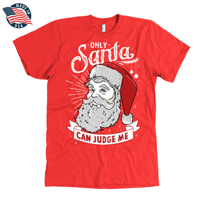 """Only Santa can judge me"" American Apparel Mens Shirt for Beard Lovers in Red"