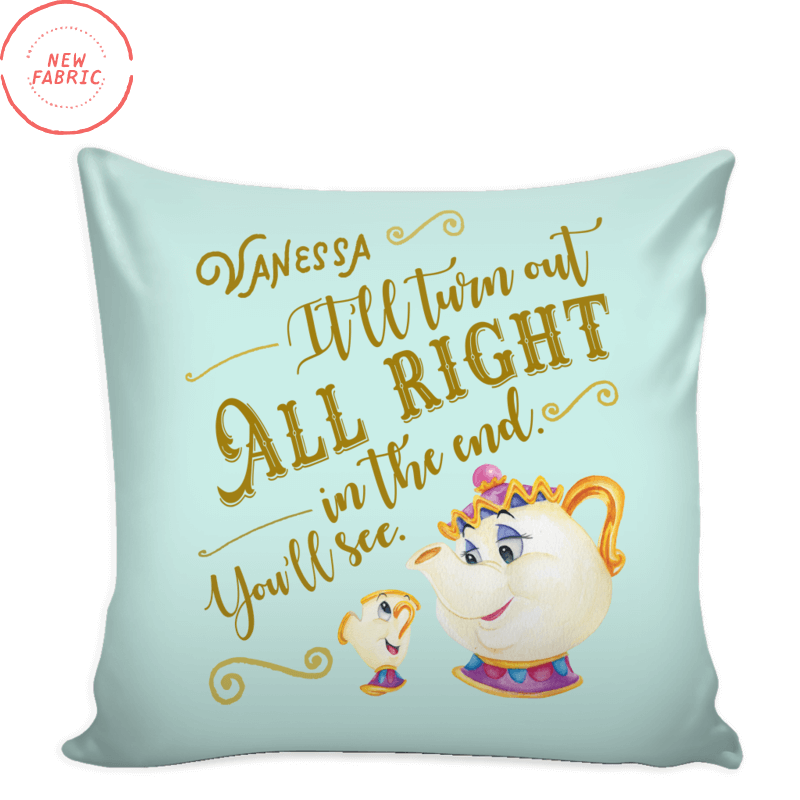 Personalized Mrs. Potts & Chip Throw Pillow Cushion Cover (Add Your Name) in Classic Cream