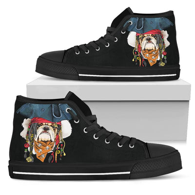 Pirate Bulldog High-Top Canvas Shoes for Women. Click this image for more details!