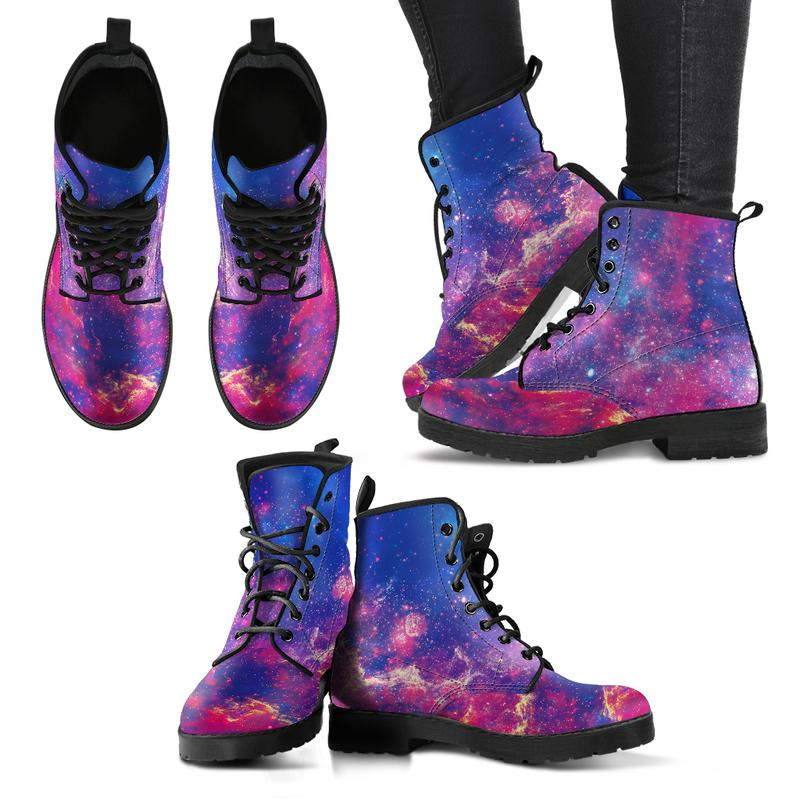 Purple Galaxy Eco-Leather Boots for Women